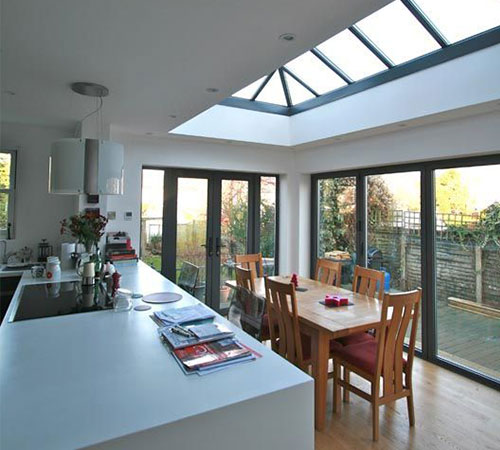 conservatory with sky line window