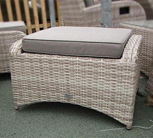 mixed cream rattan footstool grey cushion