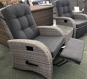 light grey reclining rattan chair